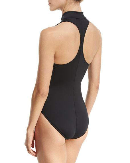 Coco Zip-Front One-Piece Swimsuit, Black, Plus Size