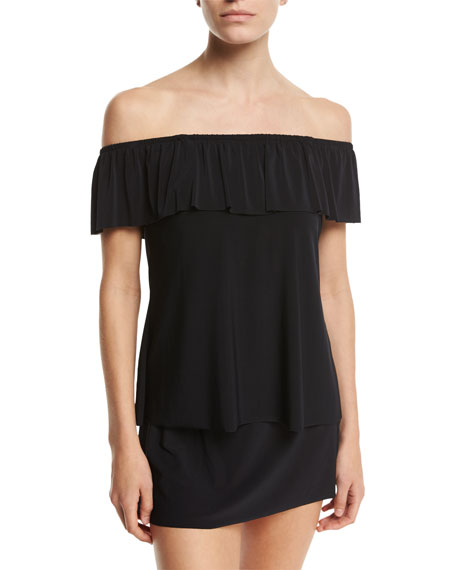 Magicsuit Kriss Off-the-Shoulder Tankini Swim Top, Black, Plus