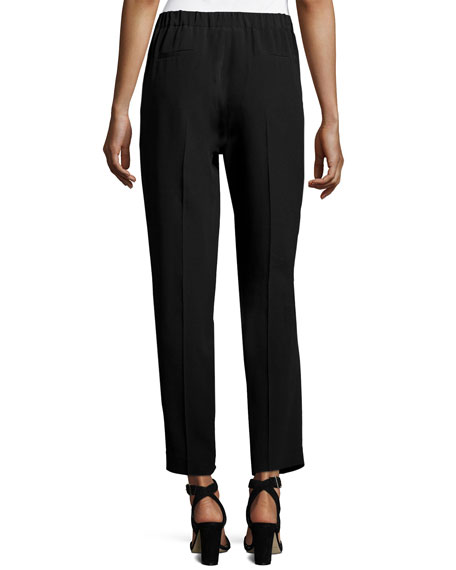 Trento Slouchy Silk-Blend Ankle Pants, Black