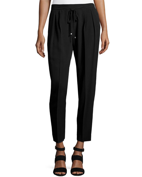 Antonelli Trento Slouchy Silk-Blend Ankle Pants, Black