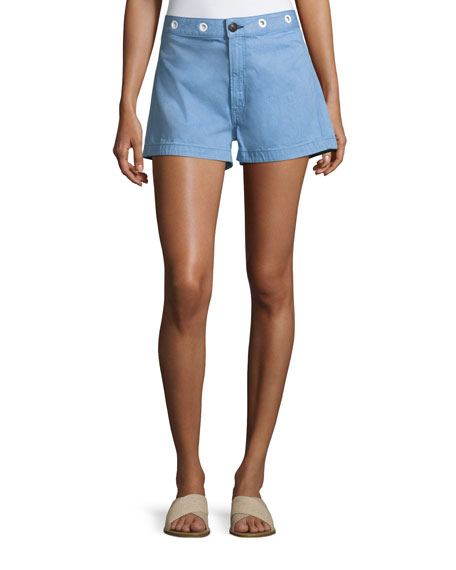 Rag & Bone RBW18 Slim-Fit High-Rise Shorts, Powder