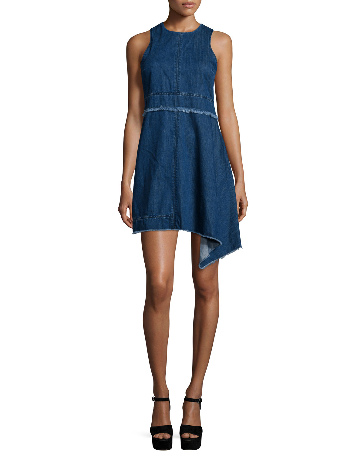 78655446b0 NICHOLAS Sleeveless Asymmetric-Hem Denim Dress