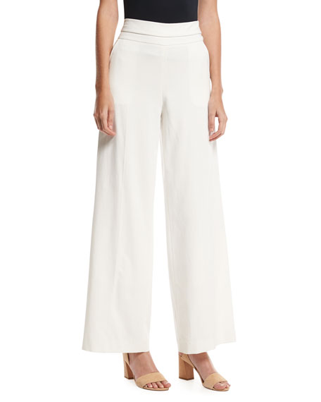 FRAME Wide-Leg Tux Pants, Off White