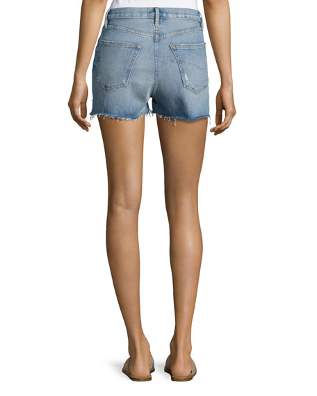 Le Original High-Rise Denim Shorts with Tulip Hem, Chloe