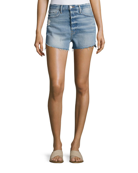 FRAME Le Original High-Rise Denim Shorts with Tulip