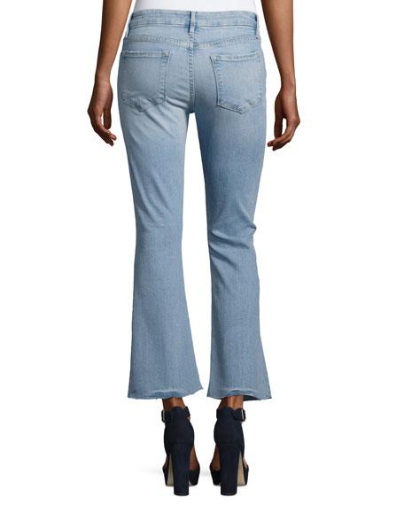Le Crop Mini Boot-Cut Jeans with Raw Edge, Garrn River