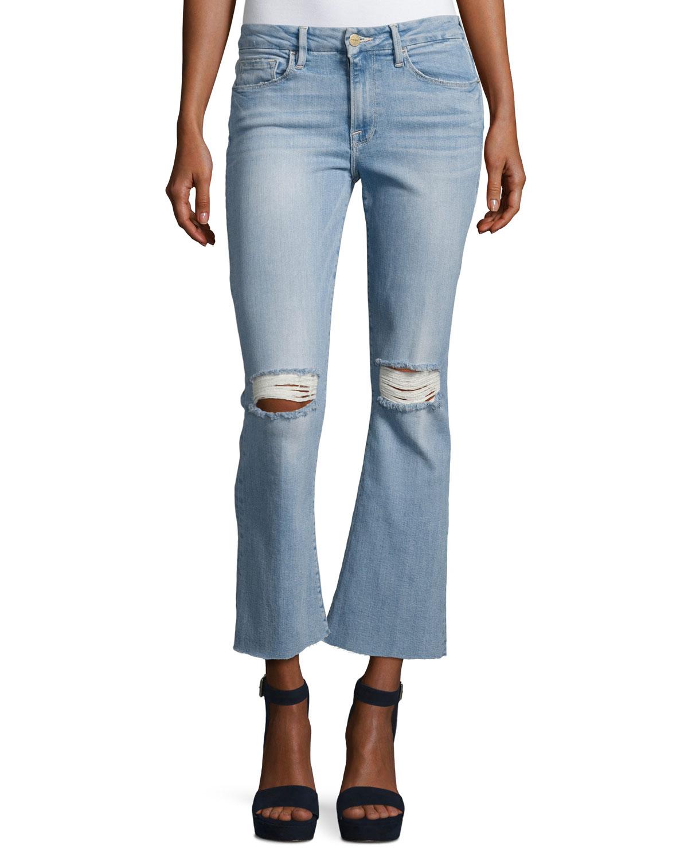 572aa0c6c3efe FRAME Le Crop Mini Boot-Cut Jeans with Raw Edge
