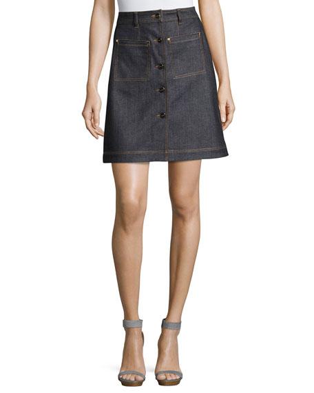 Carven High-Waist Denim Mini Skirt, Blue