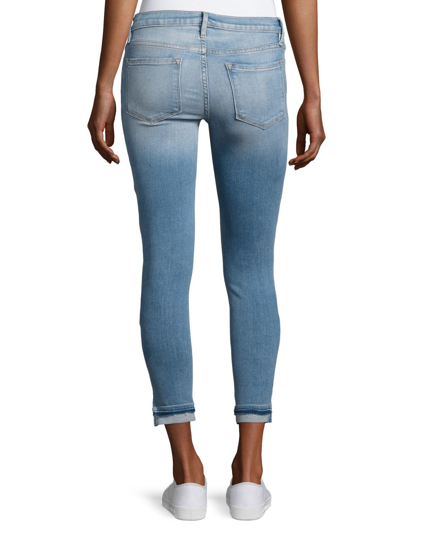 Le Skinny De Jeanne Cropped Mid-rise Jeans - Light denim Frame Denim KCMoTX