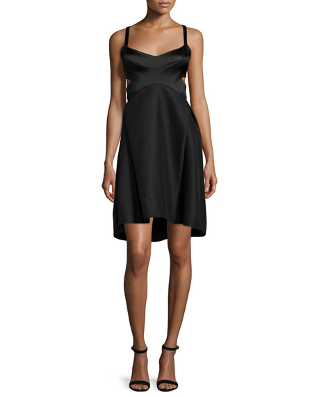 Sleeveless Sweetheart-Neck Dress, Black