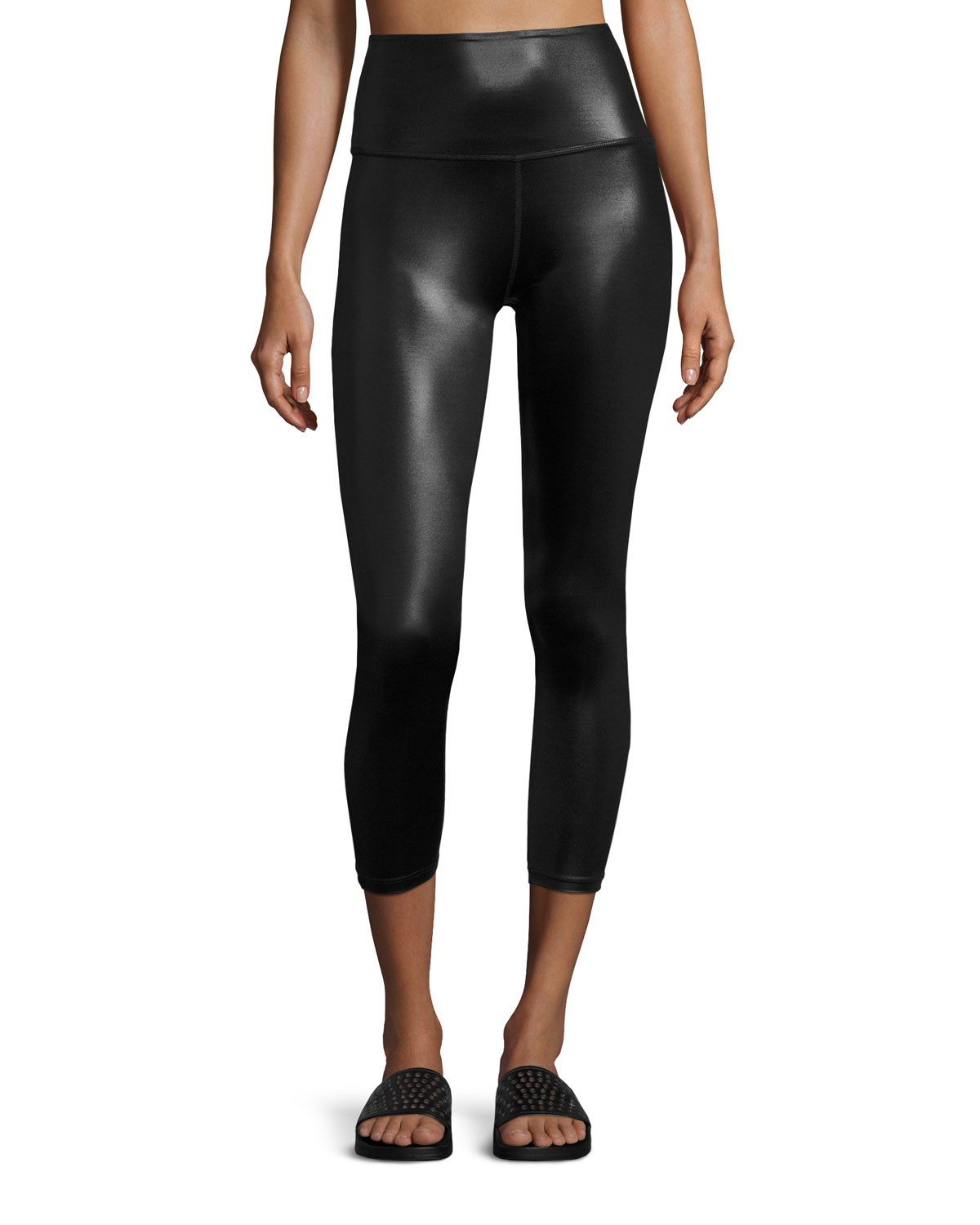 64c87422a4 Beyond Yoga Gloss Over High-Waist Capri Legging, Black | Neiman Marcus