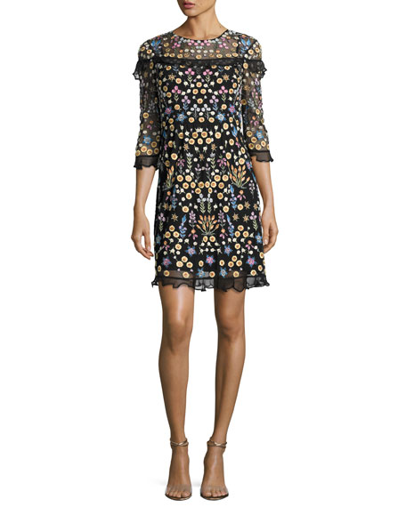 Needle & Thread Flowerbed Embroidered Ruffle-Trim Mini Dress,
