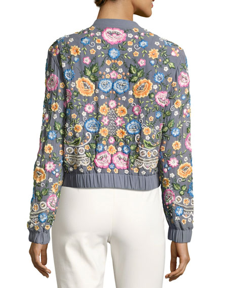 Embroidered Foliage Bomber Jacket, Blue