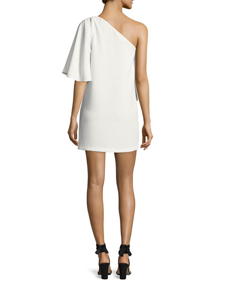 Joya One-Shoulder Ruffle Mini Dress, Blanc