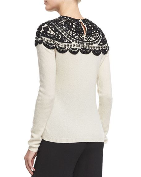 Embellished-Yoke Cashmere Sweater, Ivory/Black
