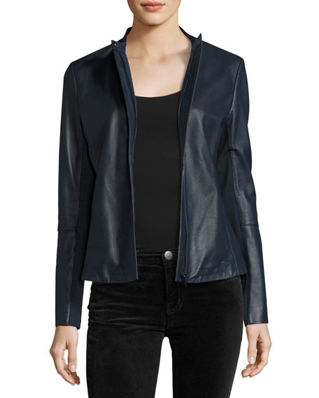 Neiman Marcus Perforated Zip-Front Leather Jacket, Navy
