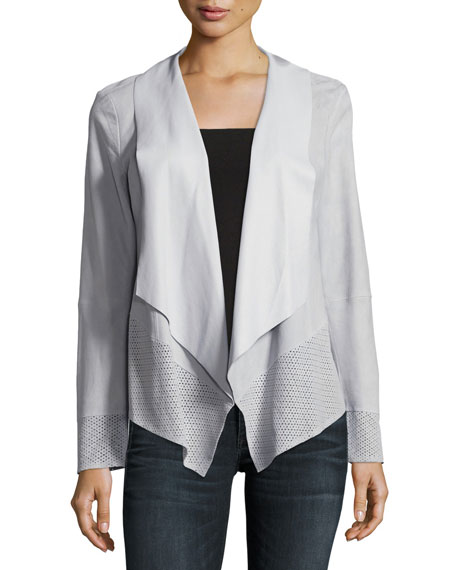 Neiman Marcus Draped Suede Jacket w/ Perforated Trim,