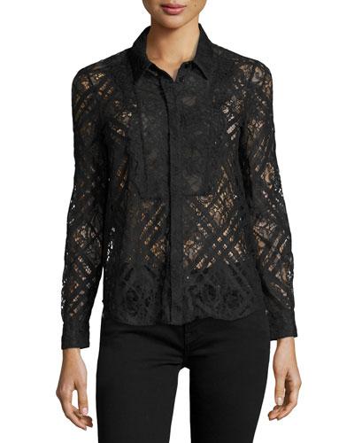 Long-Sleeve Lace Shirt, Navy