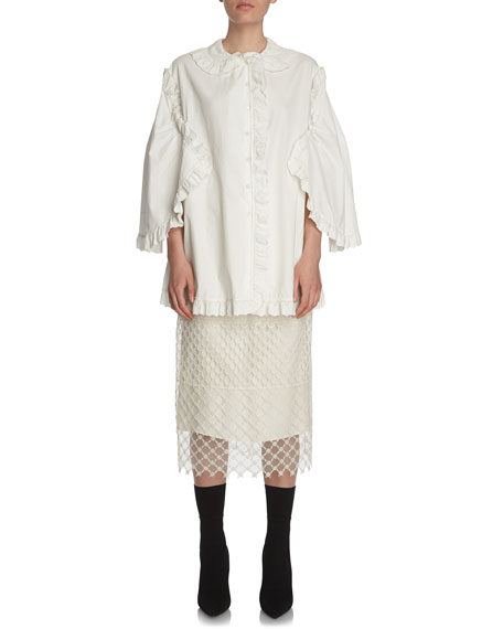 Burberry Paneled Macrame Lace Skirt