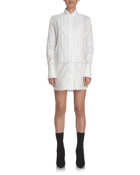 Burberry Short Pintucked Cotton Shirtdress, White