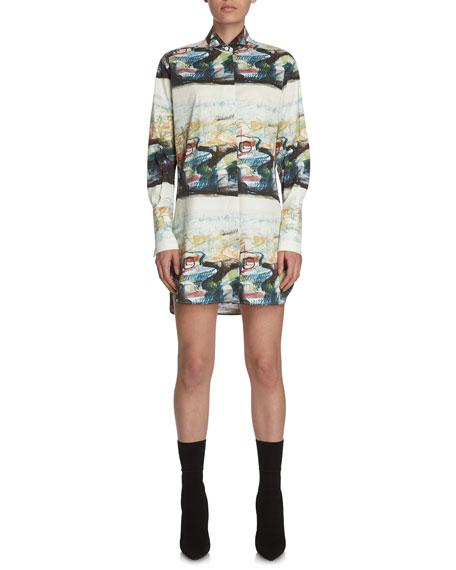 Burberry Reclining Figures Bunched-Print Shirtdress