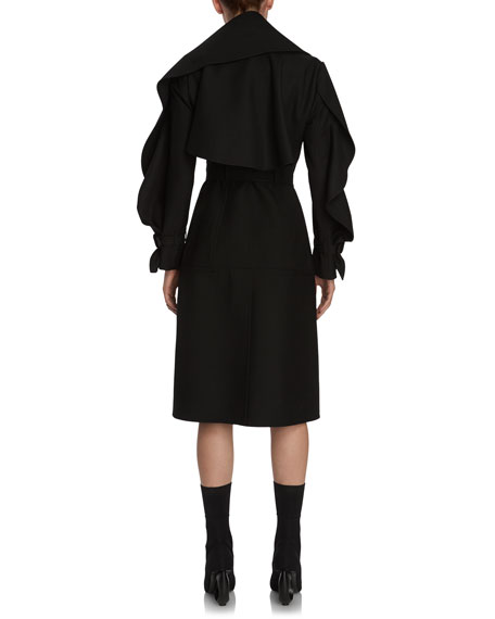 Double-Face Wool Twill Sculptural Wrap Coat, Black