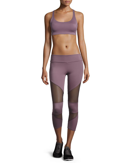 Cutout Capri Sport Leggings with Mesh Insets, Light Purple