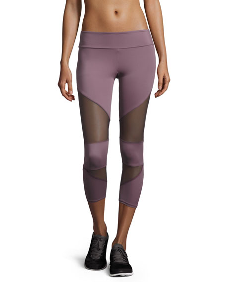 Onzie Cutout Capri Sport Leggings with Mesh Insets,