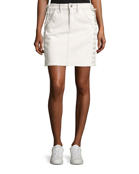 A.L.C. Ringo Laced Denim Skirt, White