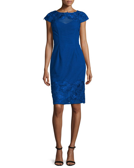 ML Monique Lhuillier Lace Open-Back Embroidered Cocktail Dress,