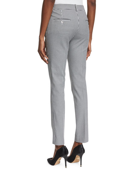 Samantha Gingham-Print Skinny Pants, Black/White