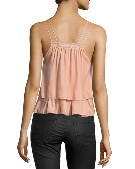 Sandro Velvet Tiered Slip Top