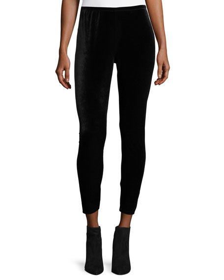 Stretch Velvet Ankle Leggings, Black
