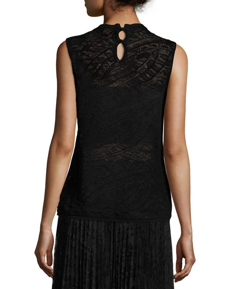 Sleeveless Knit Lace Sweater, Black