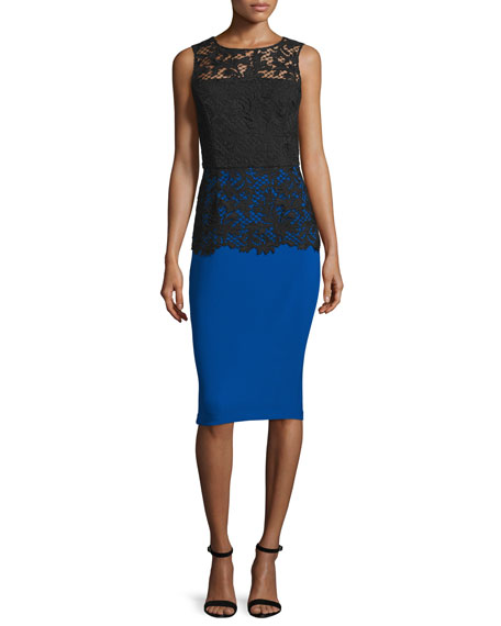 Sachin & Babi Sleeveless Lace-Bodice Cocktail Dress, Royal
