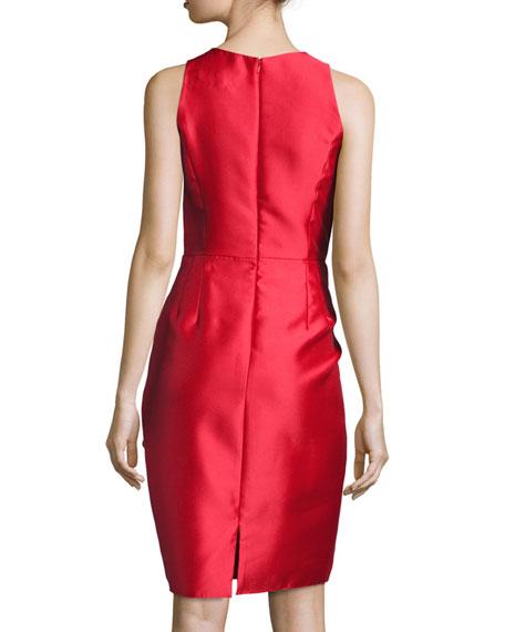 Sleeveless Ruffle-Trim Satin Cocktail Dress