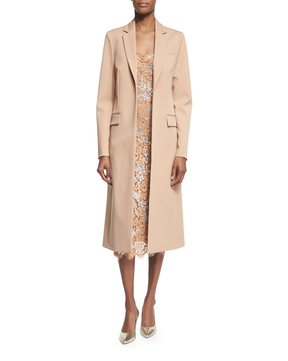 new collection Discover limited sale Long Open-Front Wool Coat, Suntan