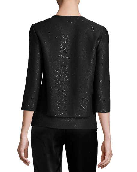Sequined Knit 3/4-Sleeve Cardigan, Black