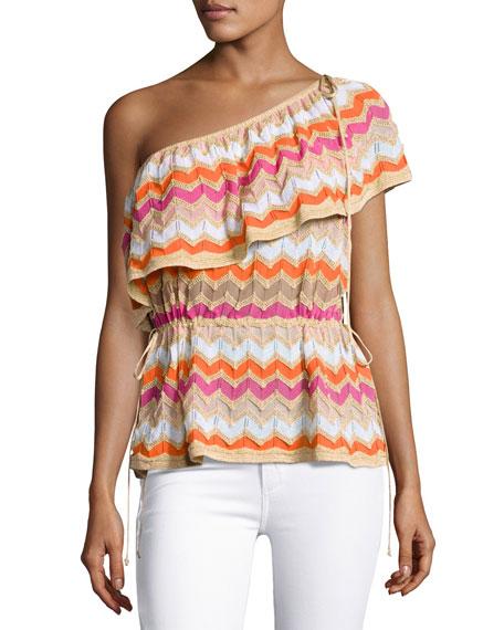 M Missoni One-Shoulder Zigzag Stretch-Knit Top