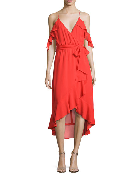 NICHOLAS V-Neck Georgette Ruffled Wrap Dress, Red