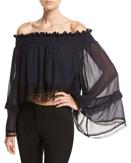 Georgette Ruffle Off-the-Shoulder Top with Lace Trim, Navy