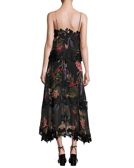 Peony Floral Overlay Silk Midi Dress, Black Multicolor