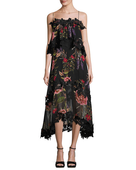 Nicholas Peony Floral Overlay Silk Midi Dress Black Multicolor