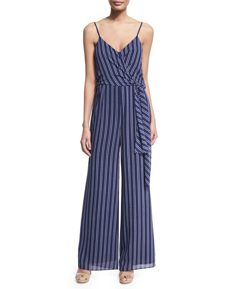 Bengal-Striped Wide-Leg Jumpsuit, Navy