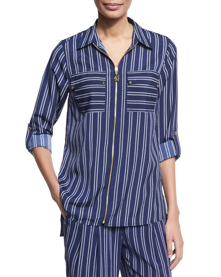 MICHAEL Michael Kors Bengal-Striped Zip-Front Top, Navy