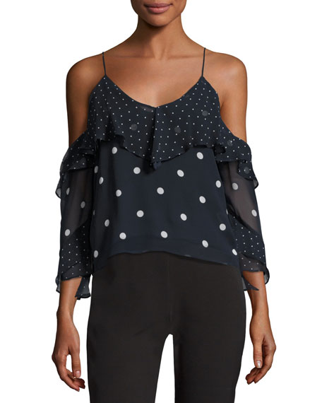 NICHOLAS Polka Dot Spiral-Sleeve Cold-Shoulder Silk Top,