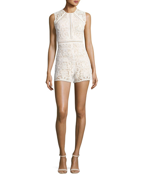 Makenna Sleeveless Lace Romper, White