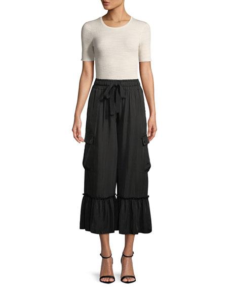 Tous Les Jours Prisilla Cupro Ruffle-Hem Wide-Leg Culottes