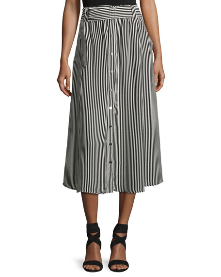 A.L.C. Divya Belted Striped Silk Midi Skirt, Black/White