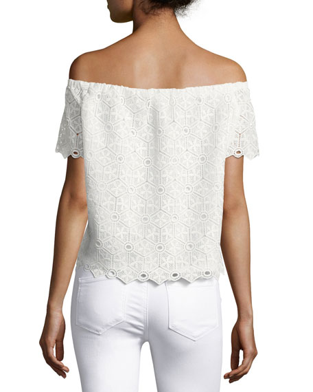 Firenze Lace Off-the-Shoulder Top, White